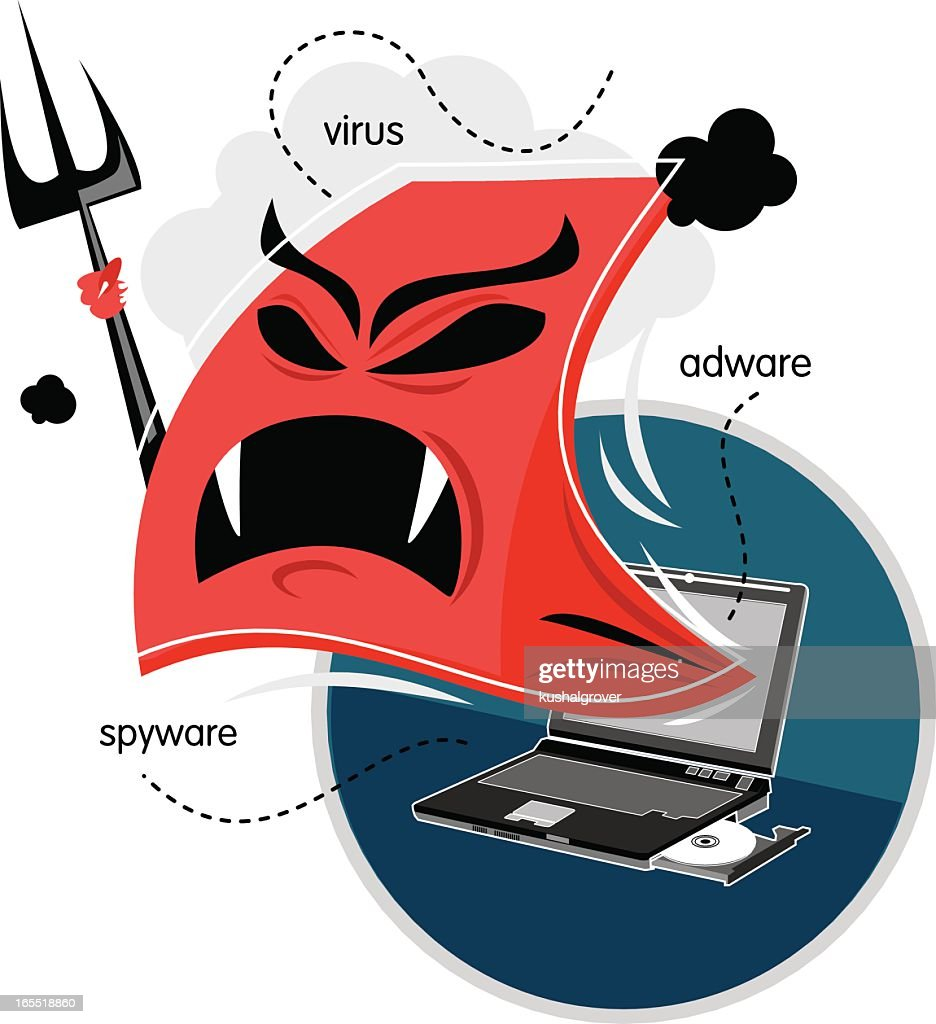 Vector graphic of computer virus attacking a laptop