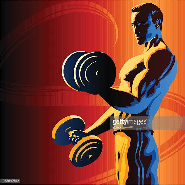 Vector graphic of fit man doing bicep curls with dumbbells
