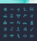 Vector graphic set. Australian culture, animals, traditions. Sign, element, emblem, symbol