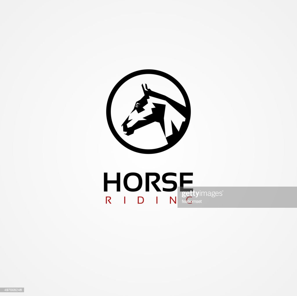 Vector graphic symbol of a horse face with sample text
