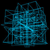 Vector graphics. Abstract 3D architectural composition. Wireframe cubic structure.