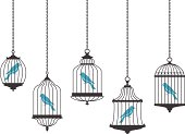 Vector graphics of birds in hanging cages