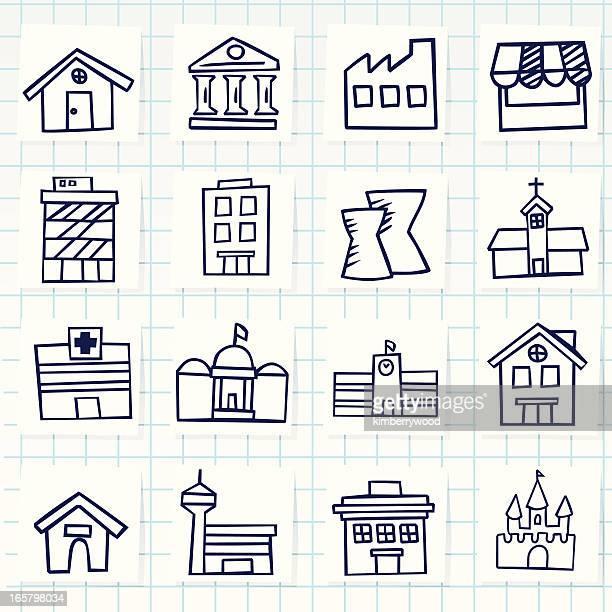illustrations, cliparts, dessins animés et icônes de bâtiment emblématique - hopital batiment