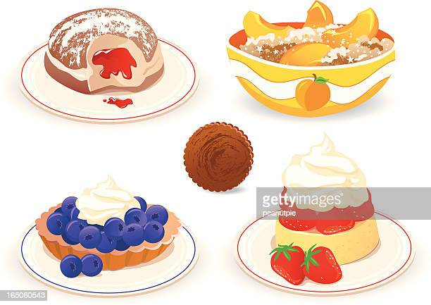 5 vector graphics of cakes and desserts on white