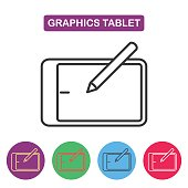 Vector graphics tablet icon. Simple thin line icon for web desi