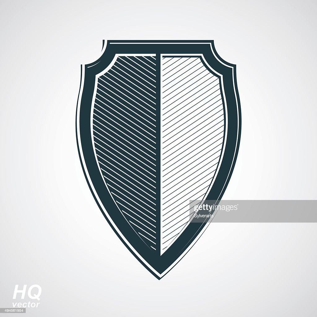 Vector grayscale defense shield, protection design graphic element.