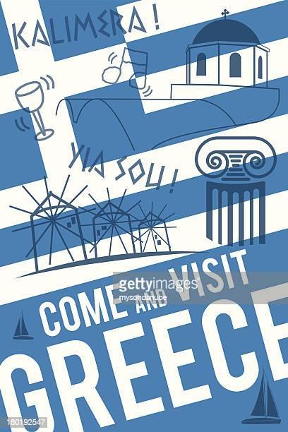 vector greece travel invitation poster - santorini stock illustrations