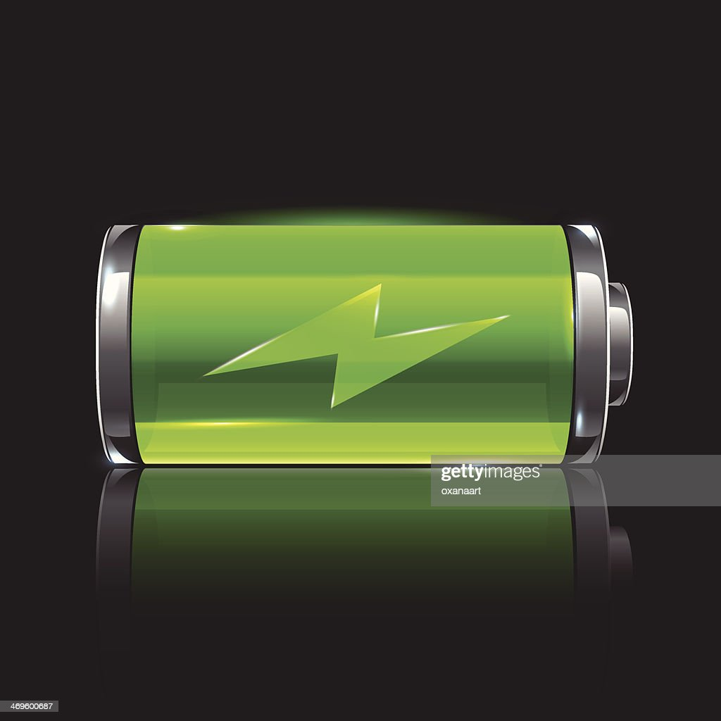 Vector green battery, full charge with lighting