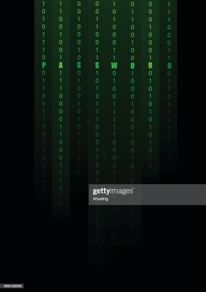 Vector : Green binary and password on black background