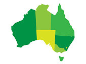 Vector green blank map of Australia