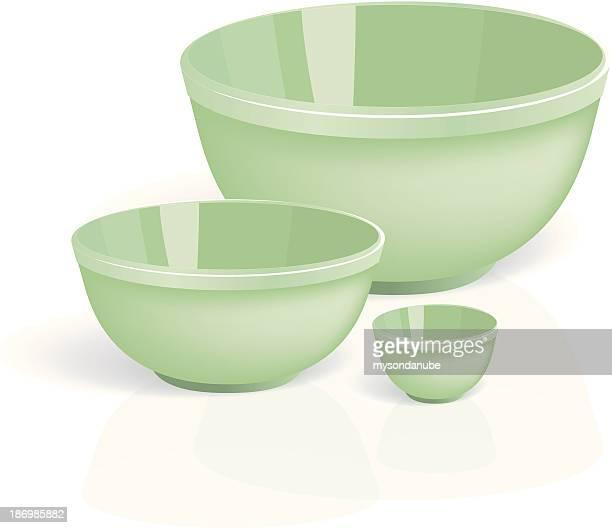 vector green ceramic bowls - ceramics stock illustrations, clip art, cartoons, & icons