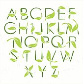 Vector green eco alphabet