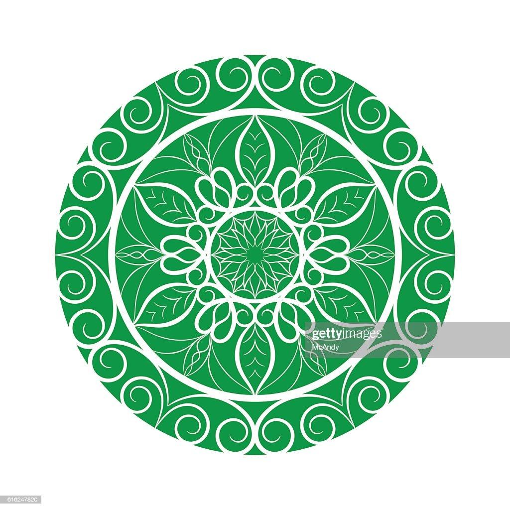 Vector Green Flower mandala over white : Vector Art