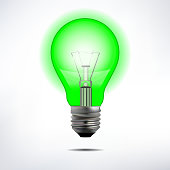 Vector Green Light Bulb
