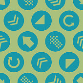 Vector Green Teal Arrow Circles Seamless Pattern Background