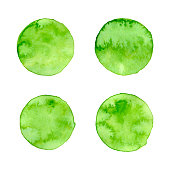 Vector green watercolor circle natural, organic, bio, eco labels and shapes on white background. Hand drawn stains set