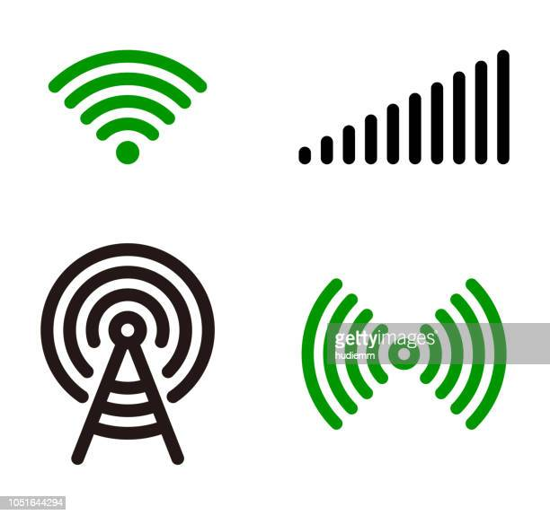 vector green wifi symbol icon set - wireless technology stock illustrations