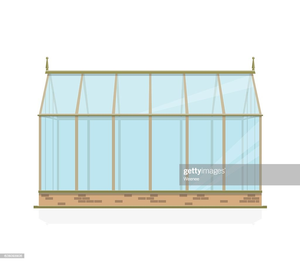 Vector greenhouse with glass, foundations and gable roof, side view.