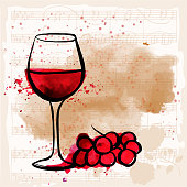 Vector greeting card design with wine and sheet music