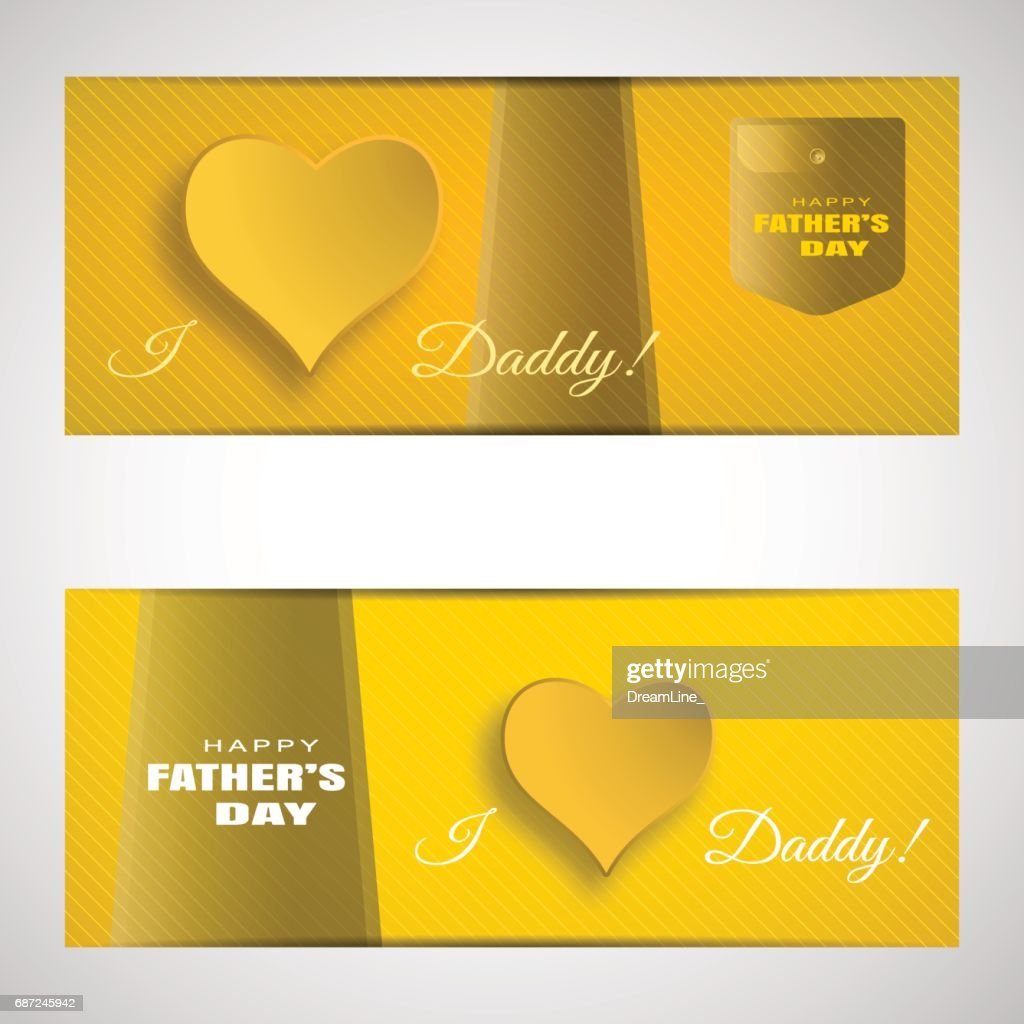 Vector Greeting Cards Set Of Fathers Day On The Gradient Yellow