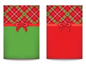 Vector greeting cards with tartan pattern.