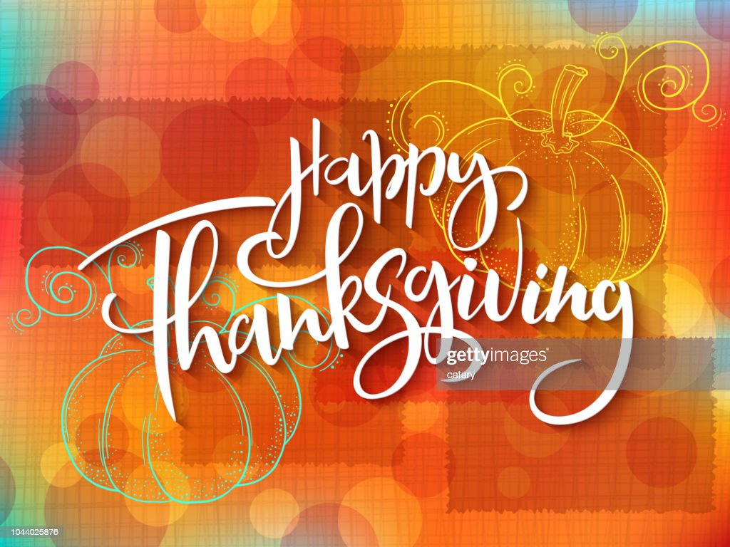 Vector greeting thanksgiving banner with hand lettering label - happy thanksgiving - with doddle pumpkin