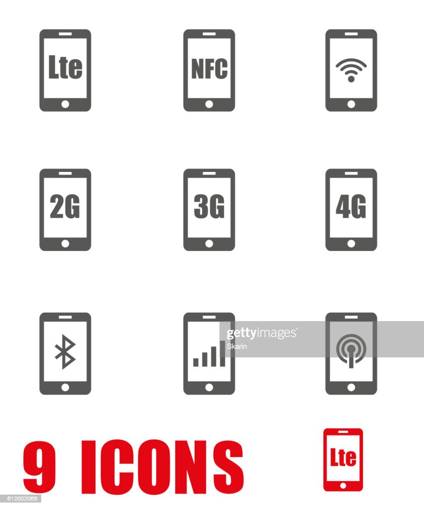 Vector grey 3G, 4G and LTE technology icon set on