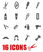 Vector grey barber icon set on white background