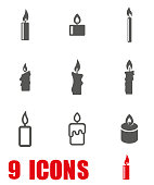 Vector grey candles icon set on white background