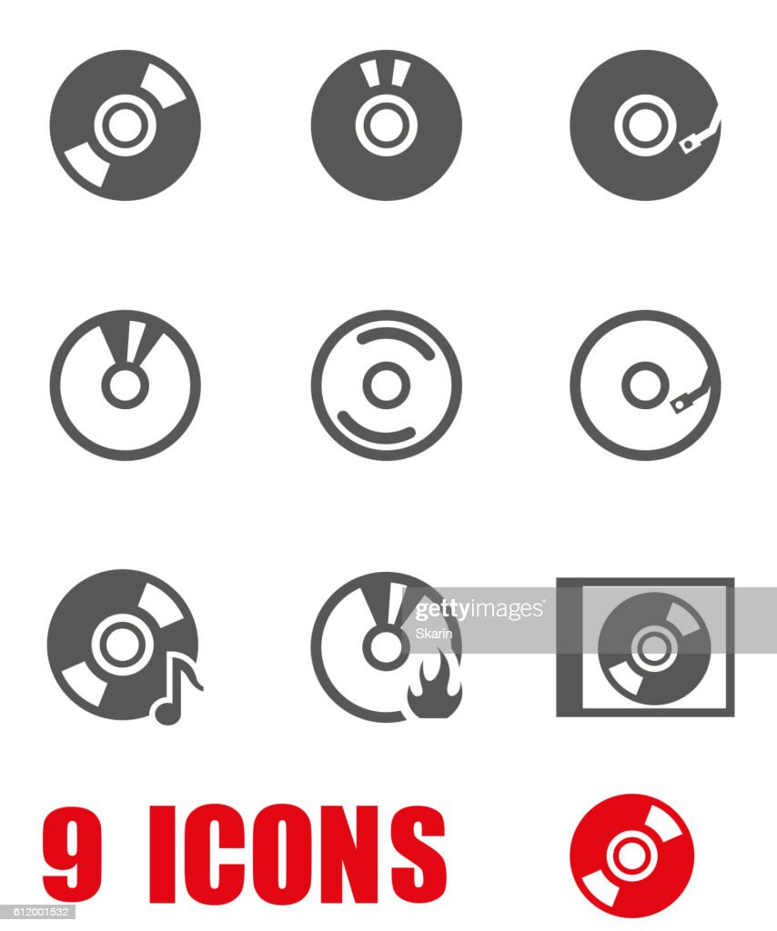 Vector grey cd icon set on white background