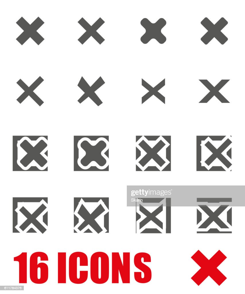 Vector grey rejected icon set on white background