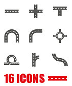 Vector grey road elements icon set on white background