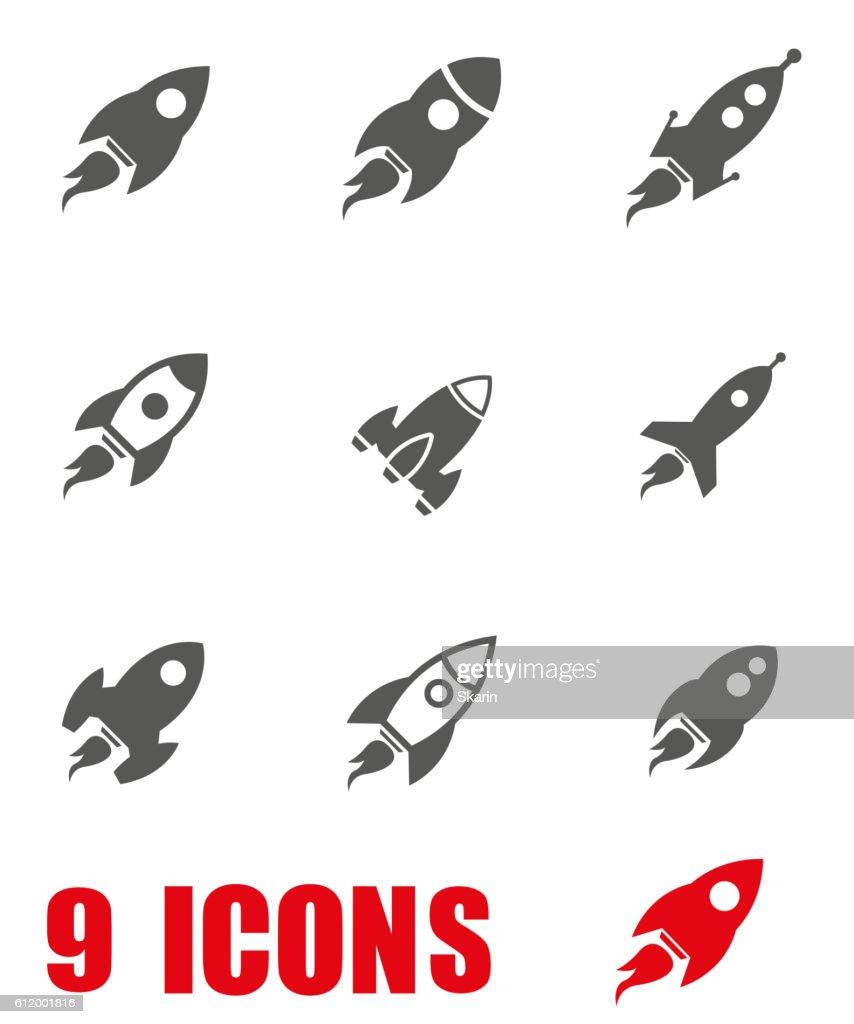 Vector grey rocket icon set on white background