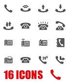 Vector grey telephone icon set on white background
