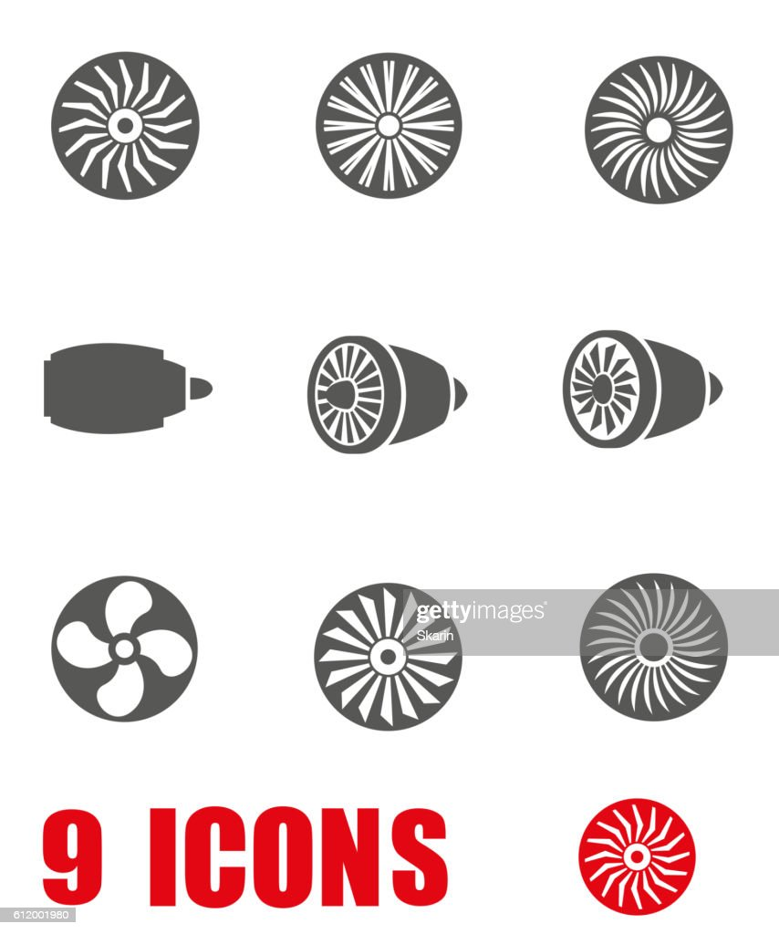 Vector grey turbines icon set on white background