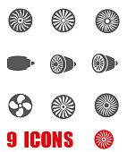 Vector grey turbines icon set on white background