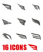 Vector grey wing icon set on white background