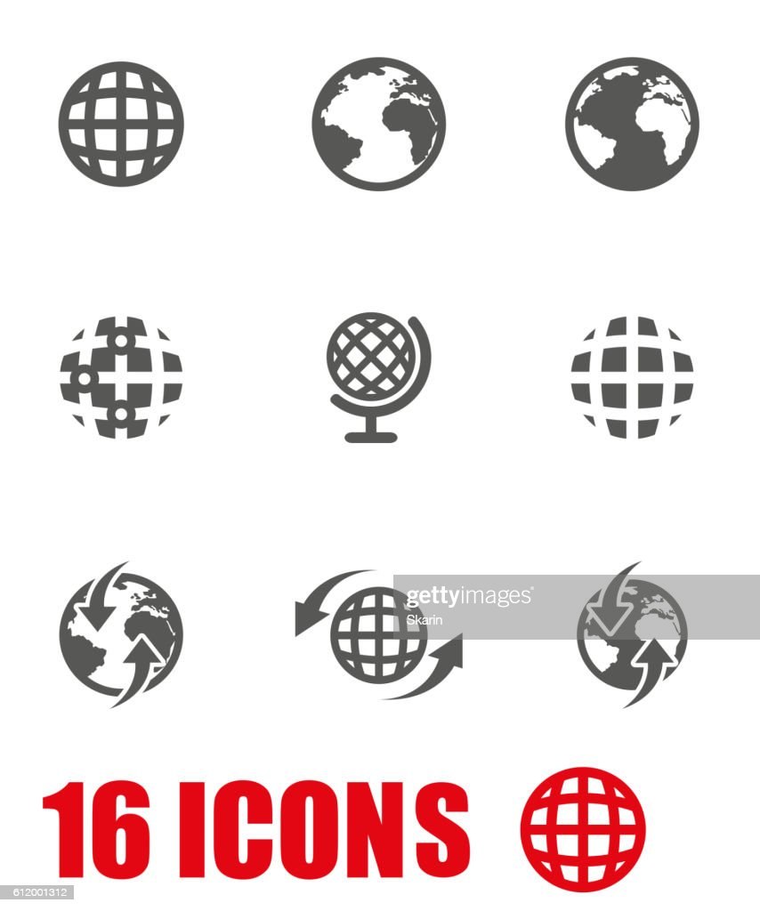Vector grey world map icon set on white background vector art vector grey world map icon set on white background vector art gumiabroncs Images