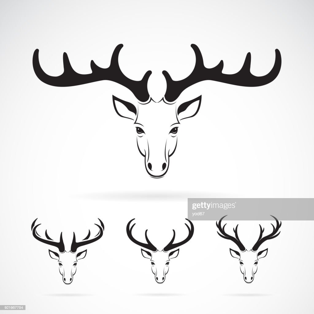 Vector group of deer head design on white background. Wild Animals. Easy editable layered vector illustration.