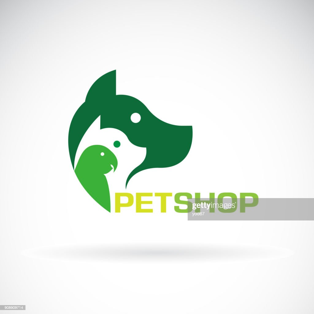 Vector group of pets - Dog, cat, parrot on white background. Beautiful pet symbol. Pet Icon, Easy editable layered vector illustration.
