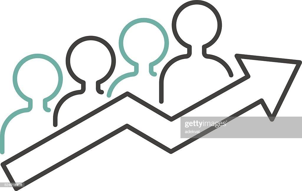 Vector growing chart graph icon business arrow progress diagram