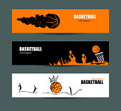 Vector grunge designs for basketball, a collection of sports flyers for the game, a tournament.