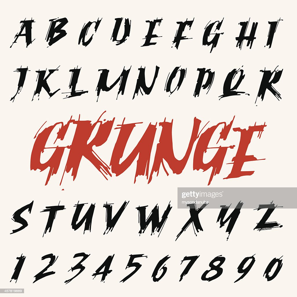 vector grunge font set. capitals alphabet