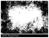 Vector Grunge frame with linen texture hand drawn background