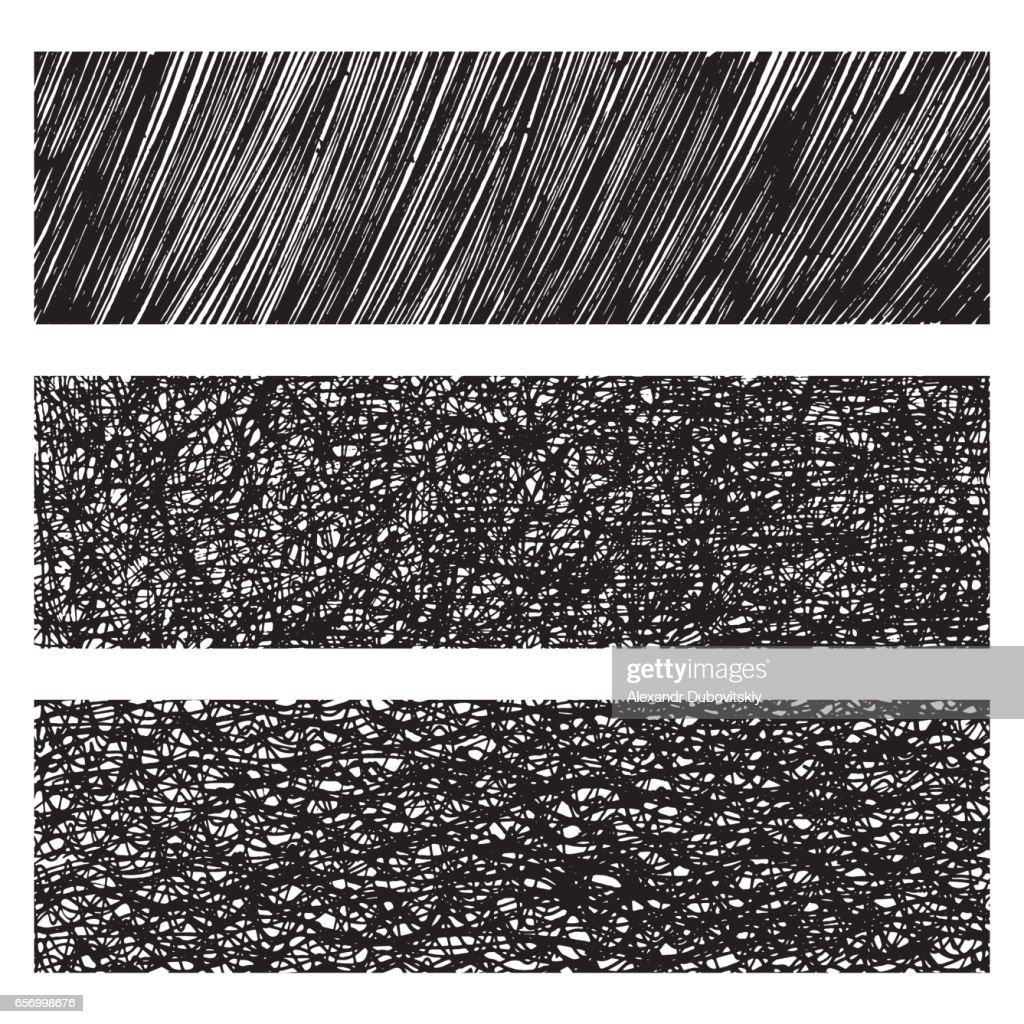 Vector grunge monochrome textures & patterns set