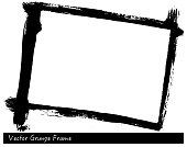 Vector Grunge rectangle frame with brush stroke texture hand drawn background