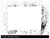 Vector Grunge rectangle frame with splash texture hand drawn background