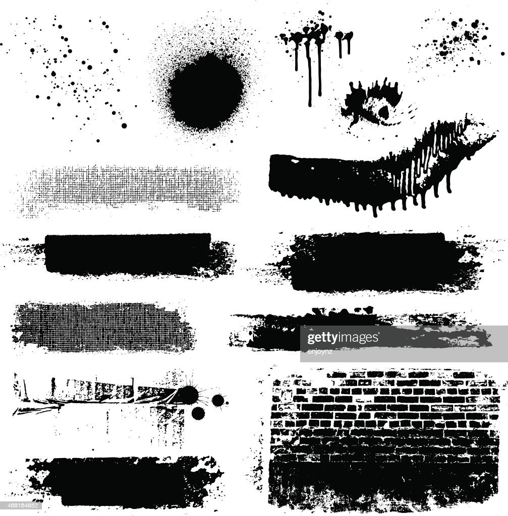 Vector grunge textures and paint splatters