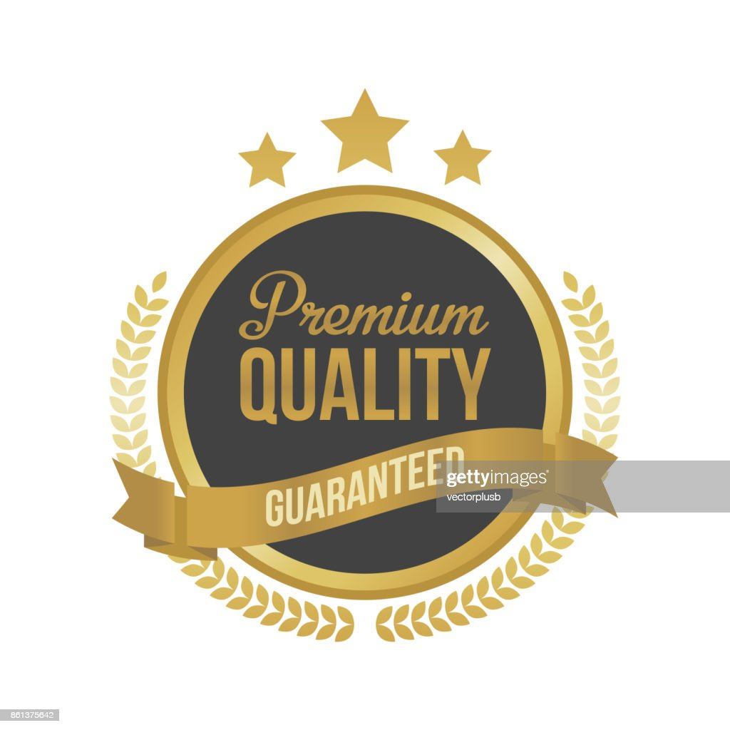 Vector Guaranteed Premium Quality Gold Sign, Round Label.