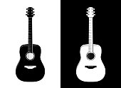 Vector Guitar Illustration in Black and White